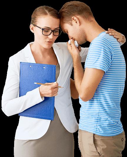 woman comforting a crying man