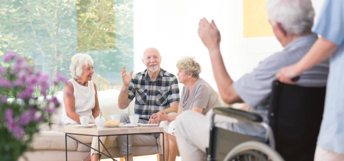 group of elderly people talking